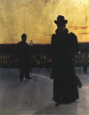 Woman in Town by Night 1893 | Eugeniusz Dabrowski | Oil Painting