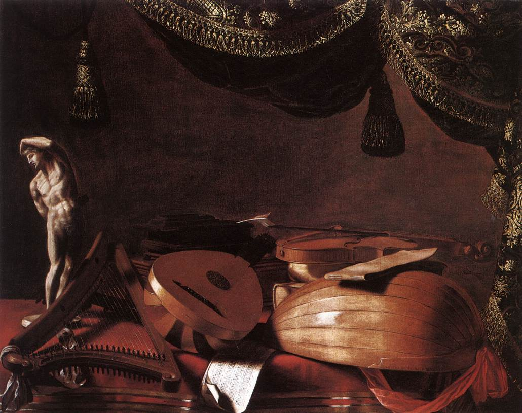 Still Life With Musical Instruments And A Small Classical Statue 1645 | Evaristo Baschenis | Oil Painting
