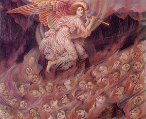An Angel Piping To The Souls In Hell 1916   Evelyn De Morgan   Oil Painting