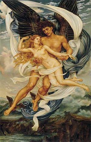 Boreas And Oreithyia 1896   Evelyn De Morgan   Oil Painting