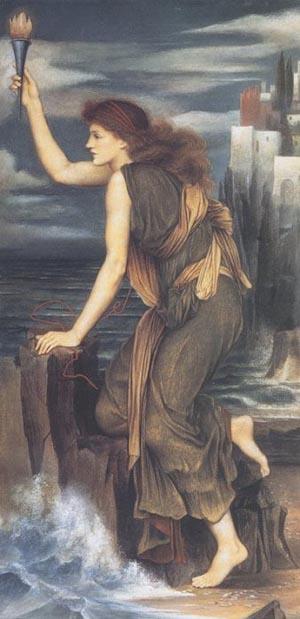 Hero Holding The Beacon For Leander 1885   Evelyn De Morgan   Oil Painting