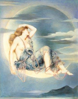 Luna 1885   Evelyn De Morgan   Oil Painting