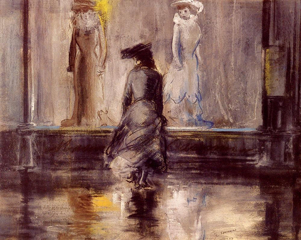 Window Shopping   Everett Shinn   Oil Painting