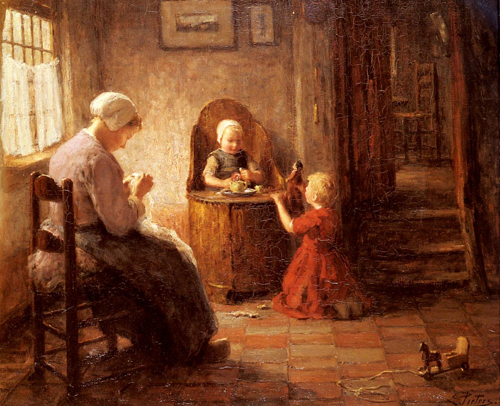 Mother and Children | Evert Pieters | Oil Painting