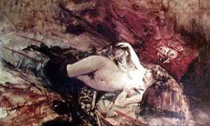 Naked Young Lady With Blanket | Boldini Giovanni | Oil Painting