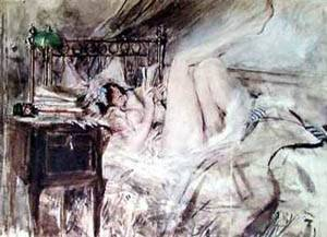 Reading In Bed | Boldini Giovanni | Oil Painting