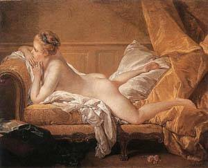 Girl Reclining - Louise O'Murphy | Boucher Francois | Oil Painting