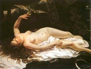 Woman With A Parrot | Gustave Courbet | Oil Painting
