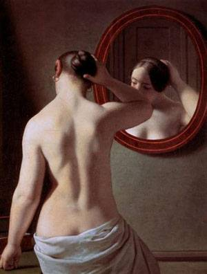 Woman Standing In Front Of A Mirror | Eckersberg Christoffer Wilhelm | Oil Painting