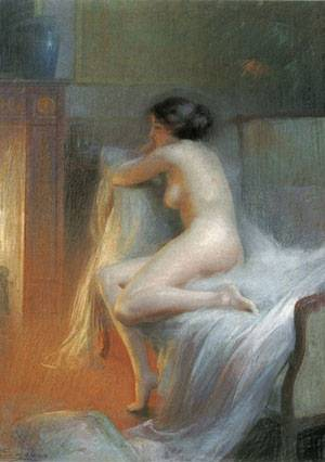 Nude Reclining By The Fire | Delphin Enjolras | Oil Painting