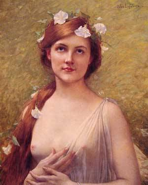 Young Woman With Morning Glories In Her Hair | Jules Joseph Lefebvre | Oil Painting
