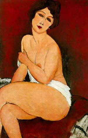 Nu Assis Sur Un Divan La Belle Romaine | Amedeo Modigliani | Oil Painting