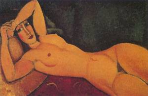 Reclining Nude With Left Arm Resting On Forehead | Amedeo Modigliani | Oil Painting