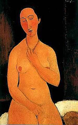 Seated Nude With Necklace | Amedeo Modigliani | Oil Painting