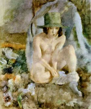 Nude With A Green Hat | Jules Pascin | Oil Painting