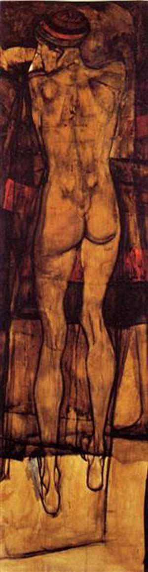 Female Nude Back View | Egon Schiele | Oil Painting