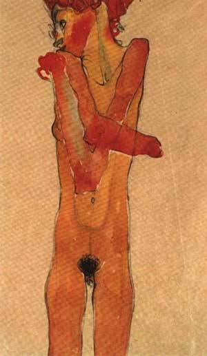 Nude Girl With Crossed Arms Gertrud Schiele | Egon Schiele | Oil Painting