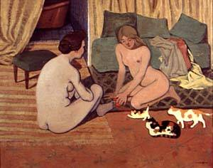 Femme Nues Au Chats | Felix Vallotton | Oil Painting