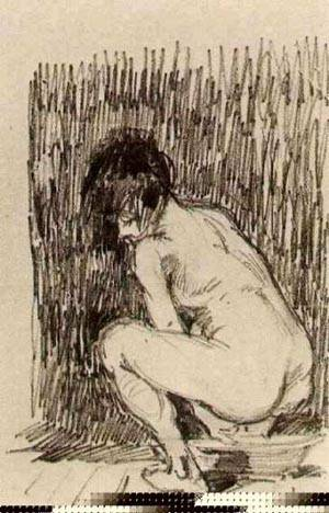 Nude Woman Squatting Over A Basin | Vincent Van Gogh | Oil Painting