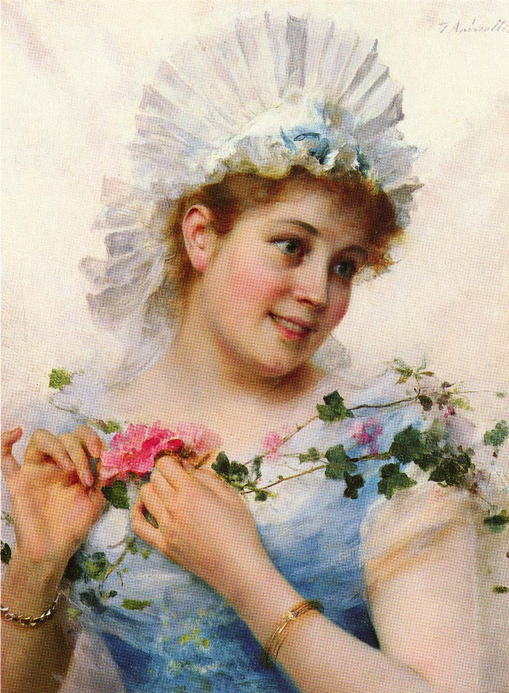 A Young Girl With Roses | Federico Andreotti | Oil Painting