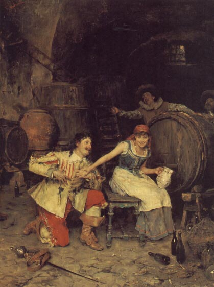 Flirtation in the Wine Cellar | Federico Andreotti | Oil Painting