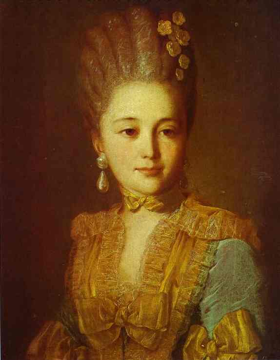 Portrait Of An Unknown Woman In A Blue Dress With Yellow Trimmings 1760s | Fedor Rokotov | Oil Painting