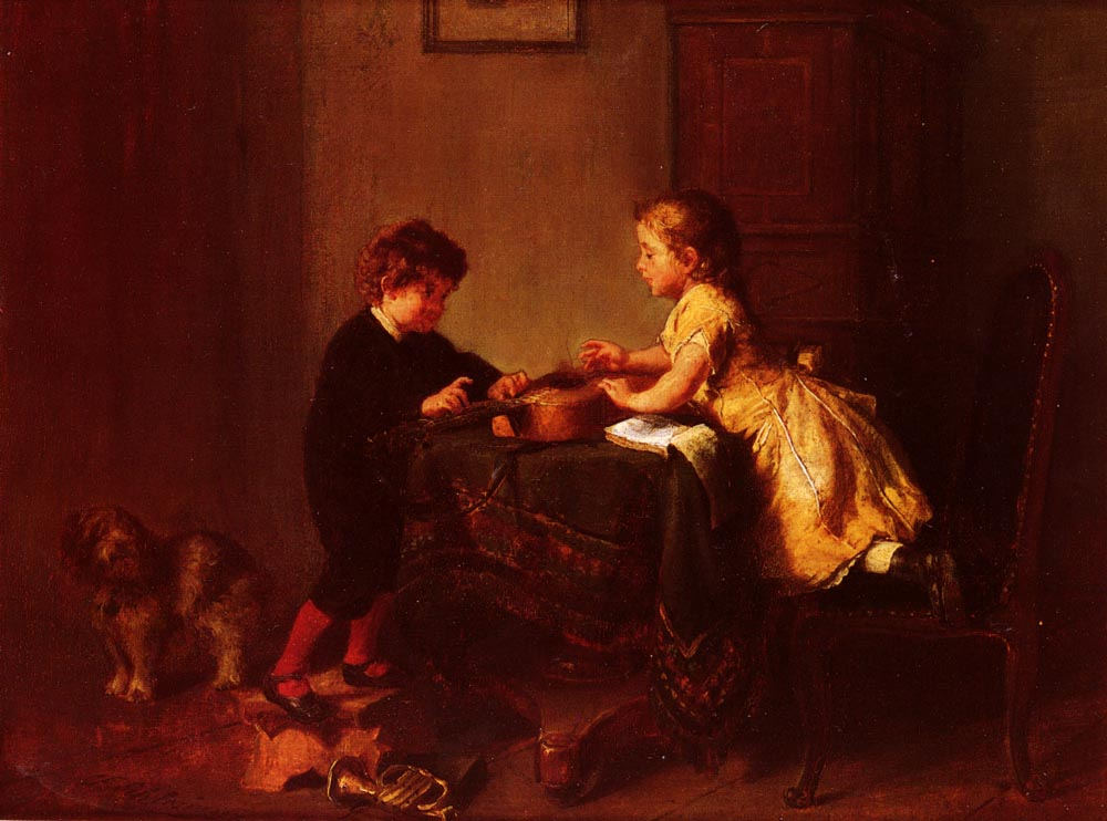 Children Playing With A Guitar | Felix Schlesinger | Oil Painting