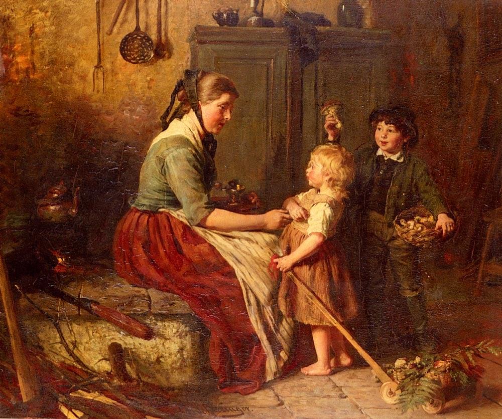 The Mushroom Gatherers   Felix Schlesinger   Oil Painting