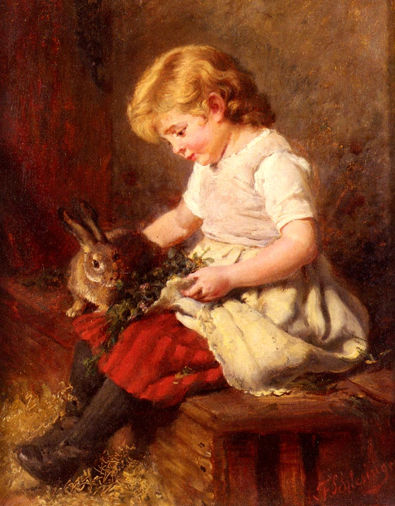 The Pet Rabbit | Felix Schlesinger | Oil Painting