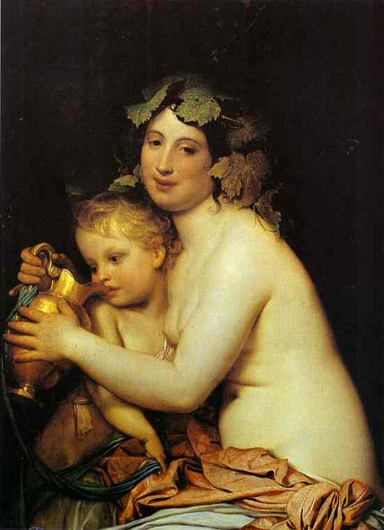 Bacchante Giving Wine To Cupid 1828 | Feodor Bruni | Oil Painting