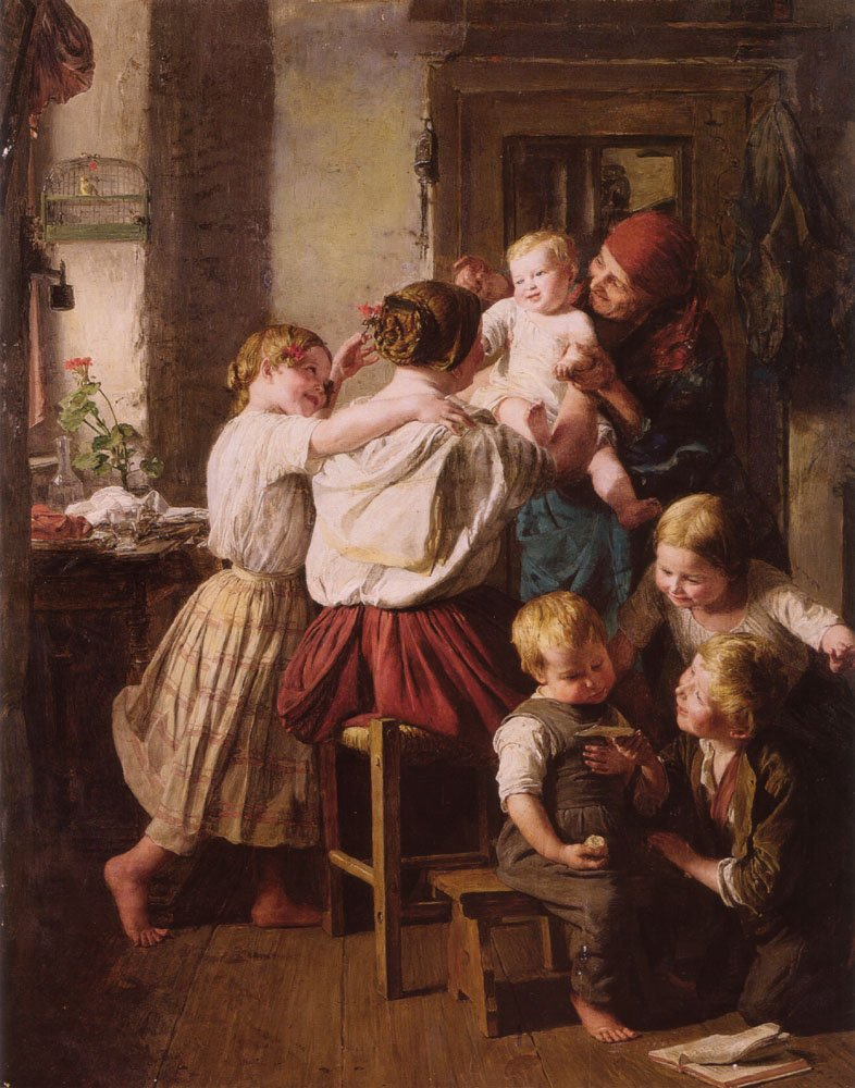Children Making Their Grandmother a Present on Her Name Day   Ferdinand Georg Waldmuller   Oil Painting