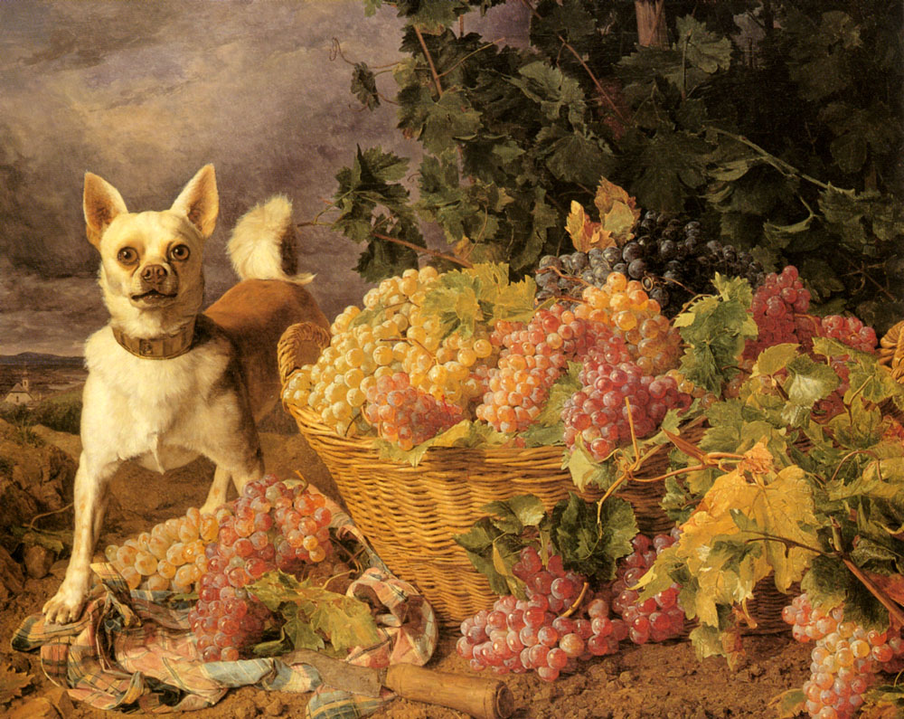 A Dog By A basket Of Grapes In A Landscape | Ferdinand Georg Waldmuller | Oil Painting