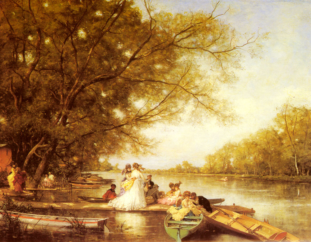 Boating Party On The Thames | Ferdinand Heilbuth | Oil Painting