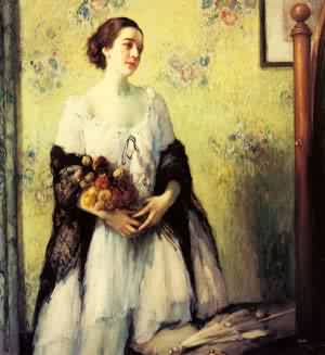 A Young Woman Holding A Bouquet | Fernand Toussaint | Oil Painting
