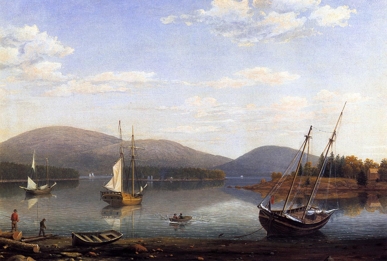 Bar Island and Mt Desert Mountains from Sommes Settlement 1850 | Fitz Hugh Lane | Oil Painting
