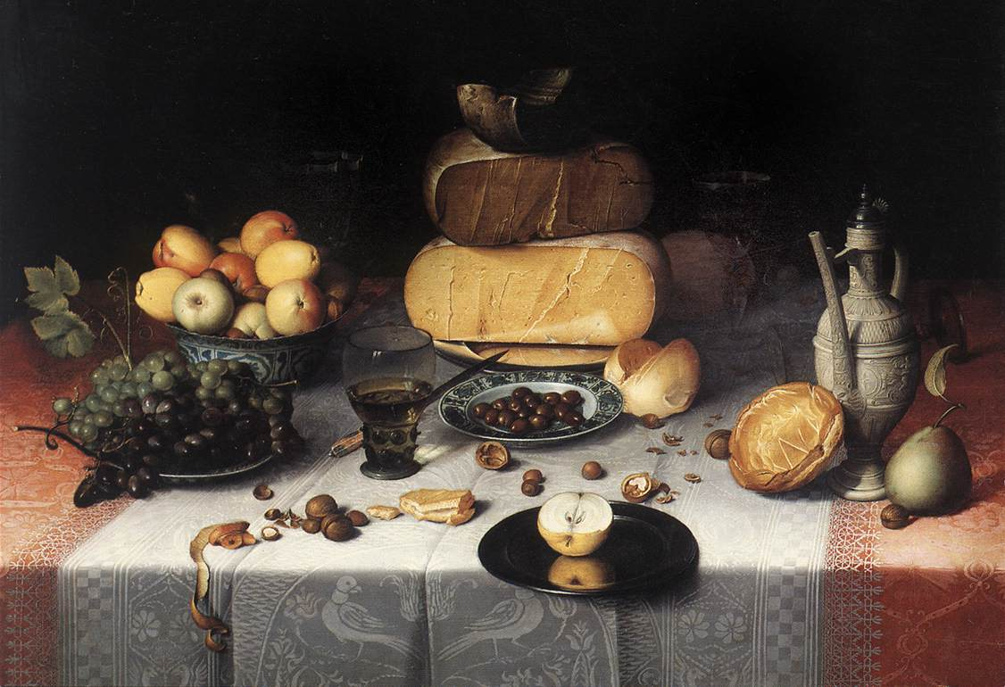 Still Life With Cheeses 1615 | Floris Claesz Van Dijck | Oil Painting