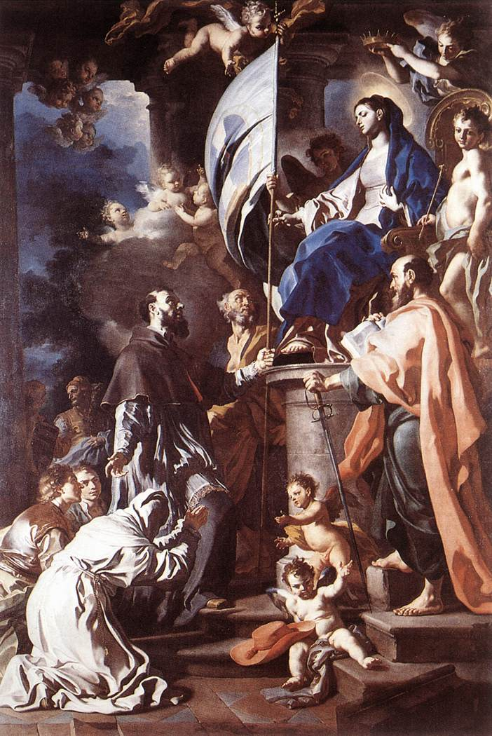 St Bonaventura Receiving The Banner Of St Sepulchre From The Madonna 1710 | Francesco Solimena | Oil Painting