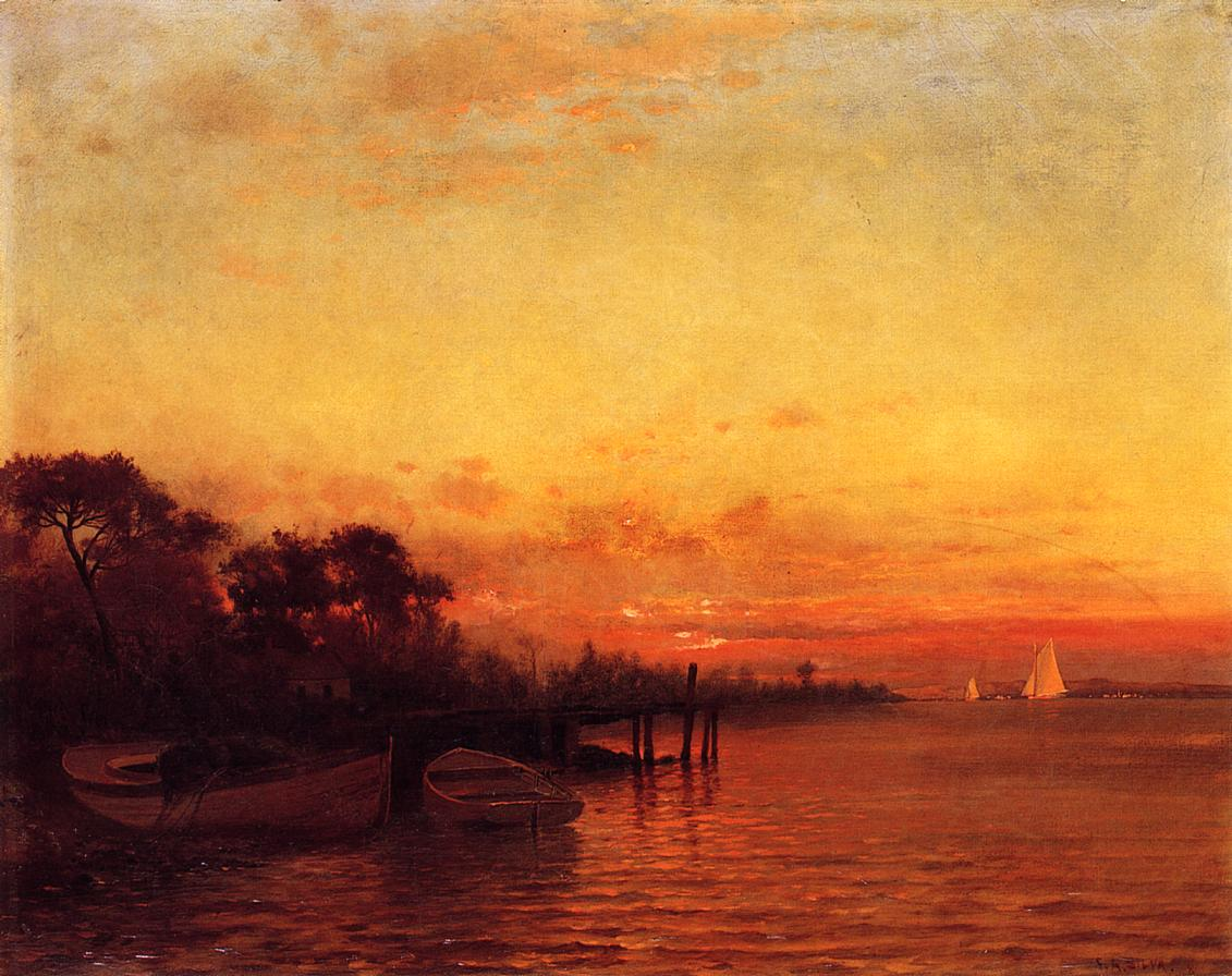 At Sunset  1880-1889   Francis A Silva   Oil Painting