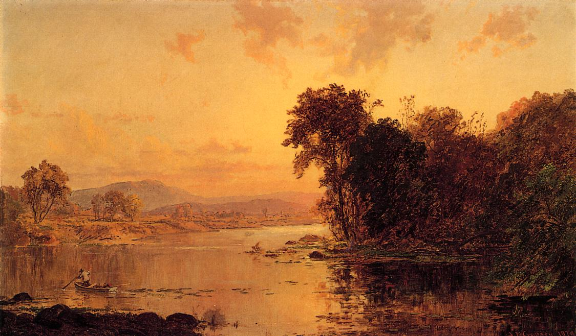 Fisherman in Autumn Landscape 1879 | Francis Jasper Cropsey | Oil Painting