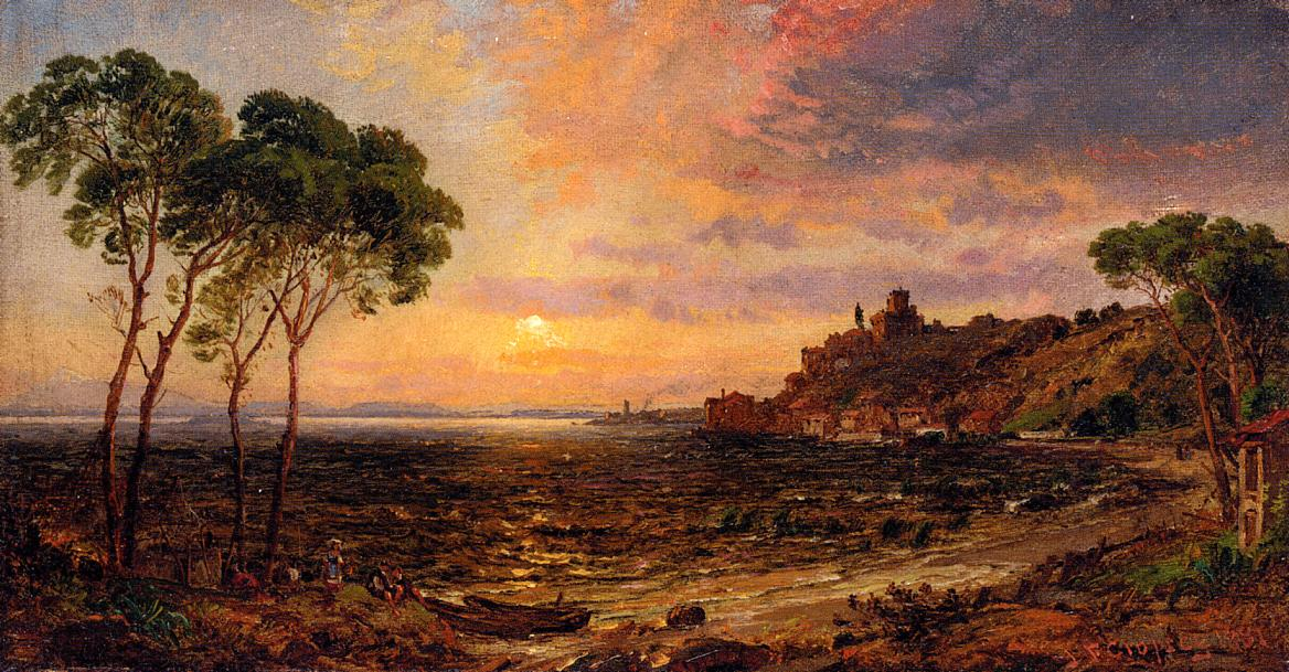 Sunset over Lake Thrasemine 1881 | Francis Jasper Cropsey | Oil Painting