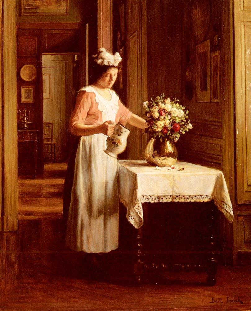 A Maid Watering Flowers | Franck Antoine Bail | Oil Painting