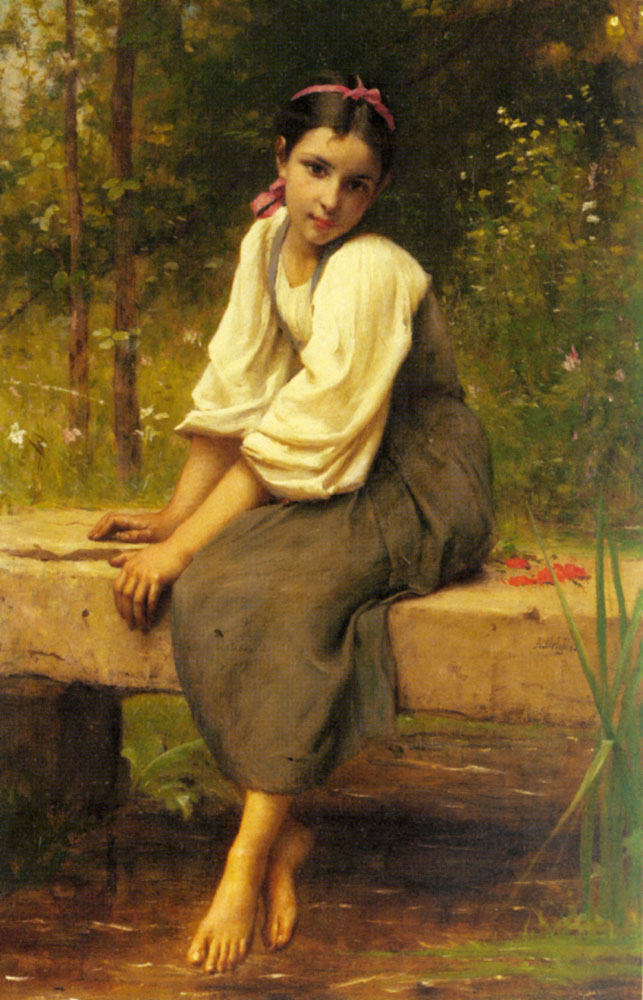 A Moment Of Reflection | Francois Alfred Delobbe | Oil Painting