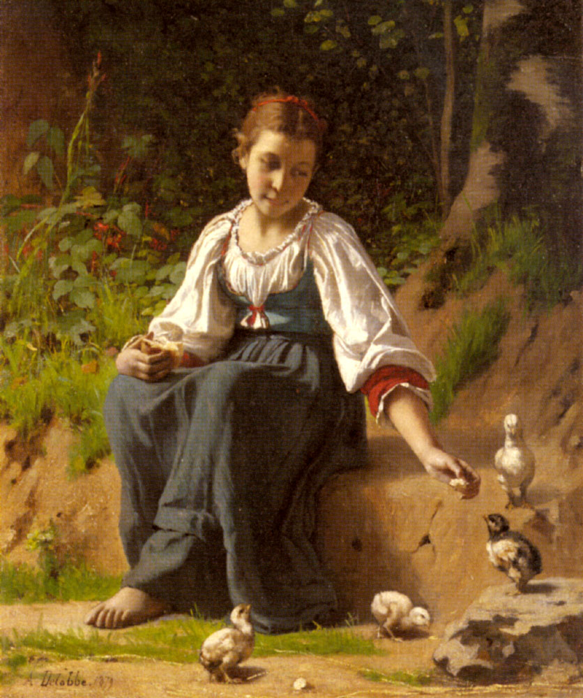 A Young Girl Feeding Baby Chicks | Francois Alfred Delobbe | Oil Painting