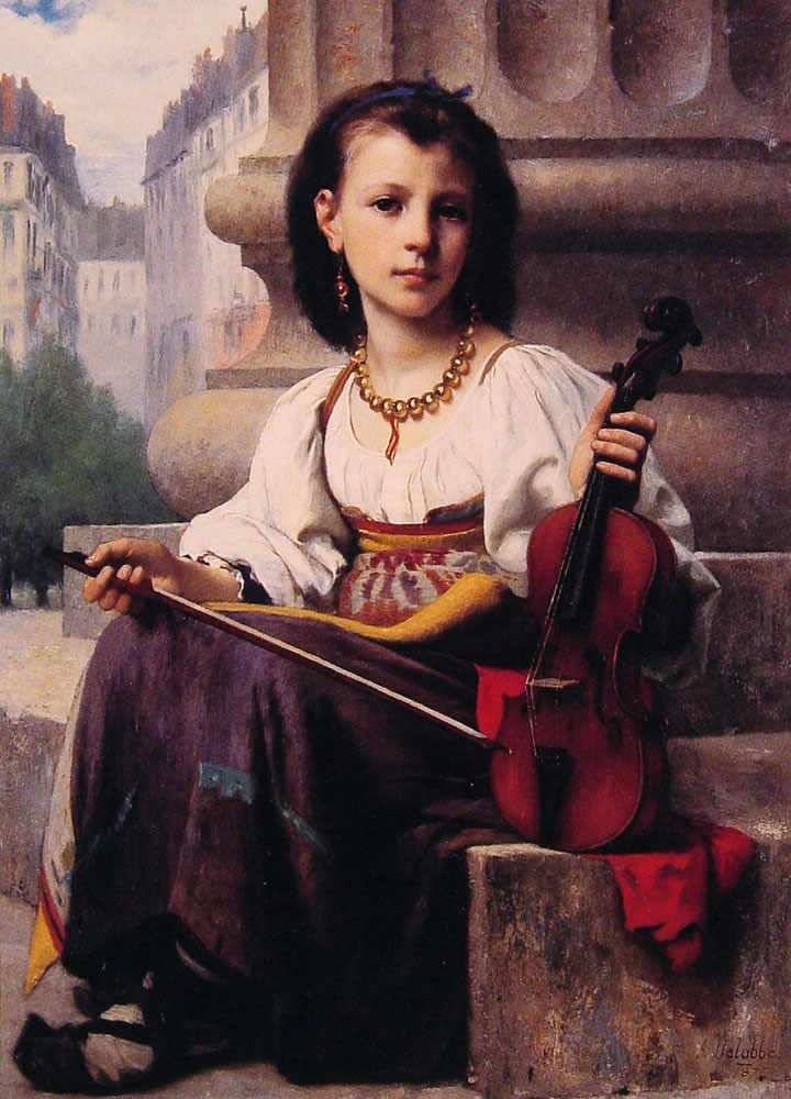 The Young Musician | Francois Alfred Delobbe | Oil Painting