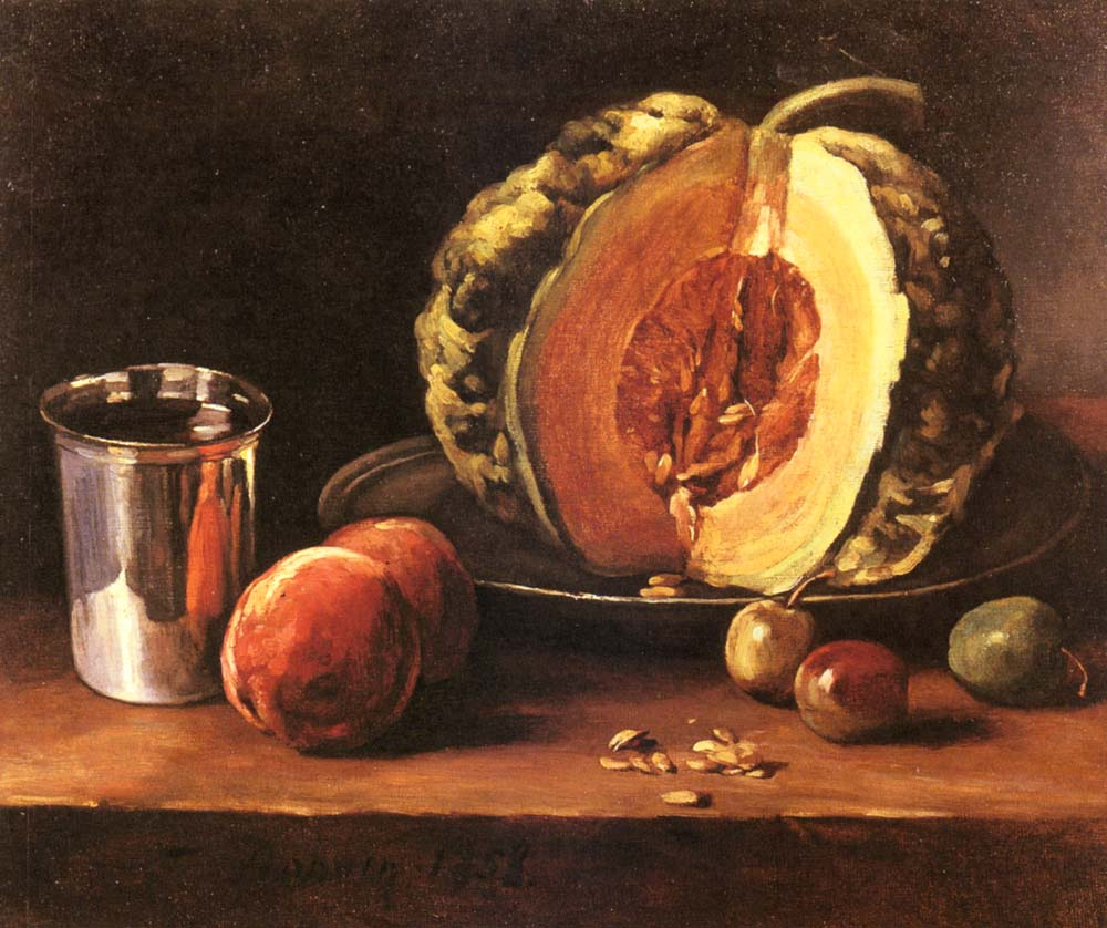 Still Life With A Pumpkin Peaches And A Silver Goblet on a Table Top | Francois Bonvin | Oil Painting