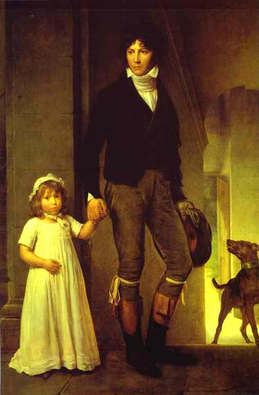 Portrait Of The Painter Jean Baptiste Isabey (1767-1855) With His Daughter 1795 | Francois Pascal Simon Gerard | Oil Painting