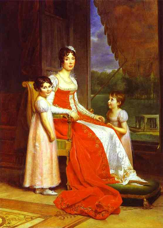 Marie Julie Bonaparte Queen Of Spain With Her Two Daughters | Francois Pascal Simon Gerard | Oil Painting