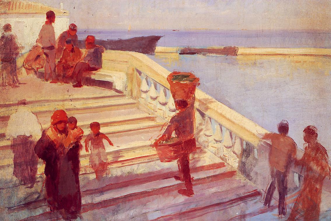 Figures on Venetian Steps 1883 | Frank Duveneck | Oil Painting