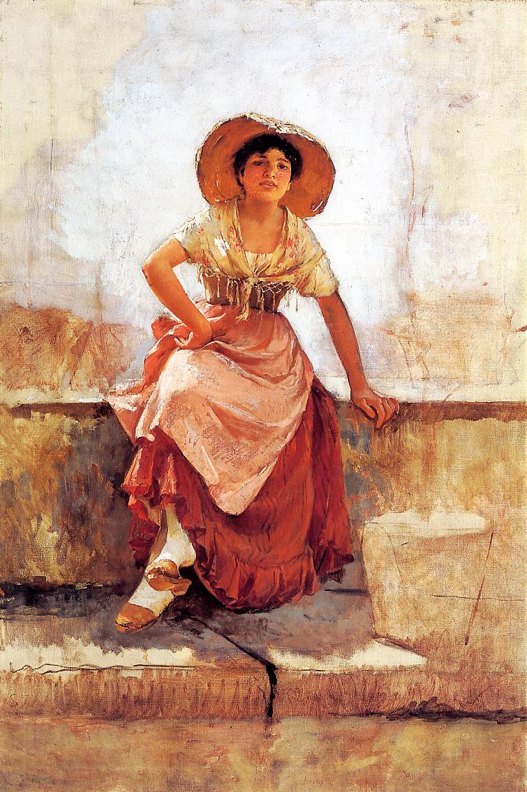 Florentine Flower Girl 1886 | Frank Duveneck | Oil Painting