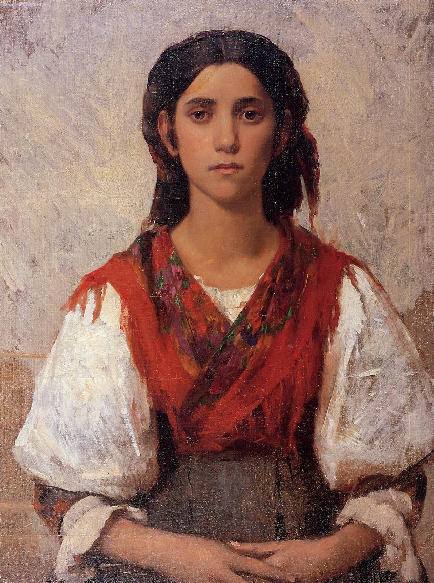 Florentine Flower Girl 1887 | Frank Duveneck | Oil Painting